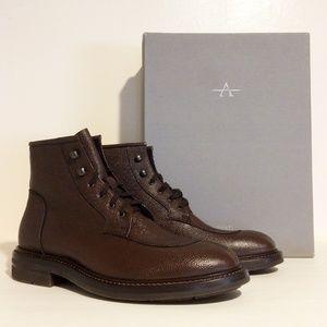 Aquatalia Brown Pebble Leather Boots Men's 8M